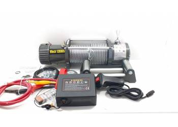 Лебедка электрическая 12V Electric Winch 12000lbs. 5443 кг. Съемный блок управления, стальной трос.
